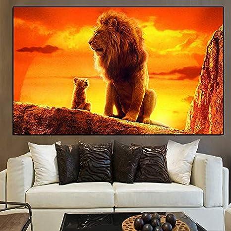 Famoso y moderno Rey León Pintura al óleo sobre lienzo Carteles e impresiones Cuadros Cuadros de arte de pared para sala de estar30X45cm