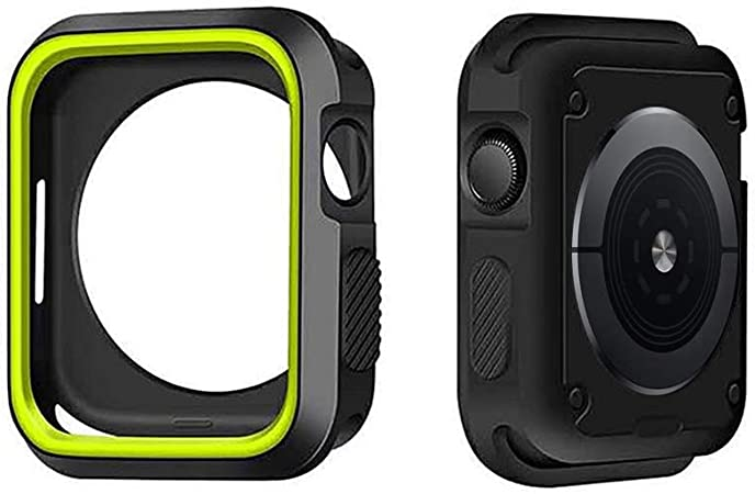 Imagen deIvyLife Funda para Apple Watch 44mm Carcasa para iWatch Series 5/4, Funda Protector de Pantalla de Apple Watch 4, Cubierta del Caso Anti-Choque, Negro y Amarillo