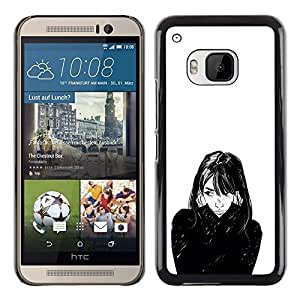 A-type Colorful Printed Hard Protective Back Case Cover Shell Skin for HTC One M9 ( Girl Portrait Black White Face Hair Art )