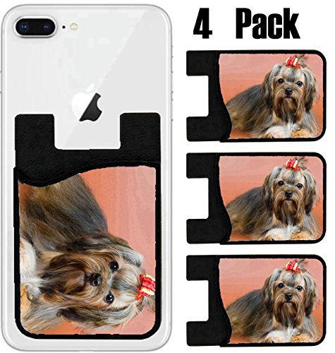 MSD Phone Card holder, sleeve/wallet for iPhone Samsung Android and all smartphones with removable microfiber screen cleaner Silicone card Caddy(4 Pack) IMAGE ID: 5429067 Lap dog in studio on a neutra
