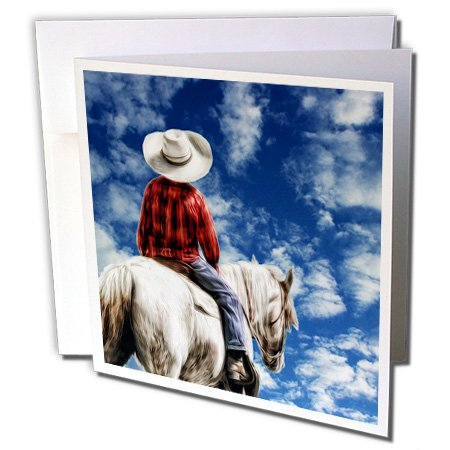 Doreen Erhardt Western - Little Cowboy on Horseback Western Theme with Blue (Western Theme Invitations)
