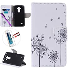 LG G4 Stylus LS 770 Case, ISADENSER Premium Mobile Cover Protect Skin Leather Cases Covers With Card Slot Holder Wallet Book Design For LG G Stylo LS770, Three Black Dandelion