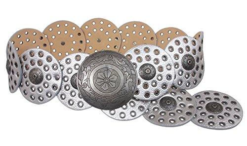 MONIQUE Women Boho Disc Round Concho Leather Link Versatile 90mm Wide Belt,Matt Silver M - 42 END-TO-END ()