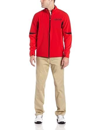 IZOD Men's Long Sleeve Poly Full Zip Waterproof Golf Jacket, Formula One, Small
