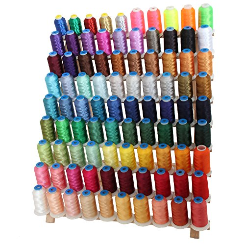 Ultimate Machine Embroidery Thread Set - 90 Spool Set Includes Solid, Metallic, Neon, & Thread Rack by Threadart