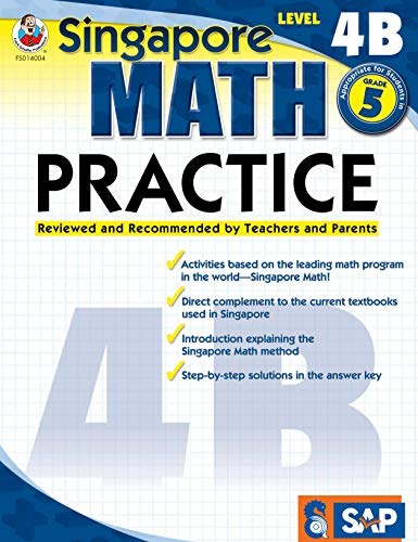- Singapore Math - Level 4B Math Practice Workbook for 5th Grade, Paperback, Ages 10-11 with Answer Key