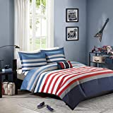 N2 3 Piece Grey Blue Red White Rugby Stripes Comforter Twin/Twin XL Set, Horizontal Striped Bedding College Sports Themed Colors Modern Stylish Teen Dorm Navy, Polyester