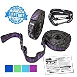 XL Hammock Straps with Carabiners - Hammock Tree Straps each 9 ft Long (18 ft total) with 20 Loops (40 Total) - Hammock Straps for Tree Made w/ 100% No Stretch Polyester & Super Easy to Setup