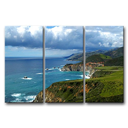 Art Print California (So Crazy Art 3 Pieces Wall Art Painting Big Sur California Blue Sea Cloudy Sky Hills Grass Prints On Canvas The Picture Landscape Pictures Oil For Home Modern Decoration Print Decor For Furniture)