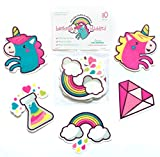 Curious Columbus Non-Slip Bathtub Stickers. Pack of 10 Large Unicorns and Rainbows Decal