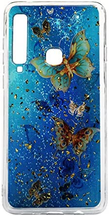 A9 2018 Glitter telefoonhoes compatibel met Samsung Galaxy A9 2018 hoes silicone case cover transparante beschermhoes telefoontasje skin softcase bumper telefooncover vlinder