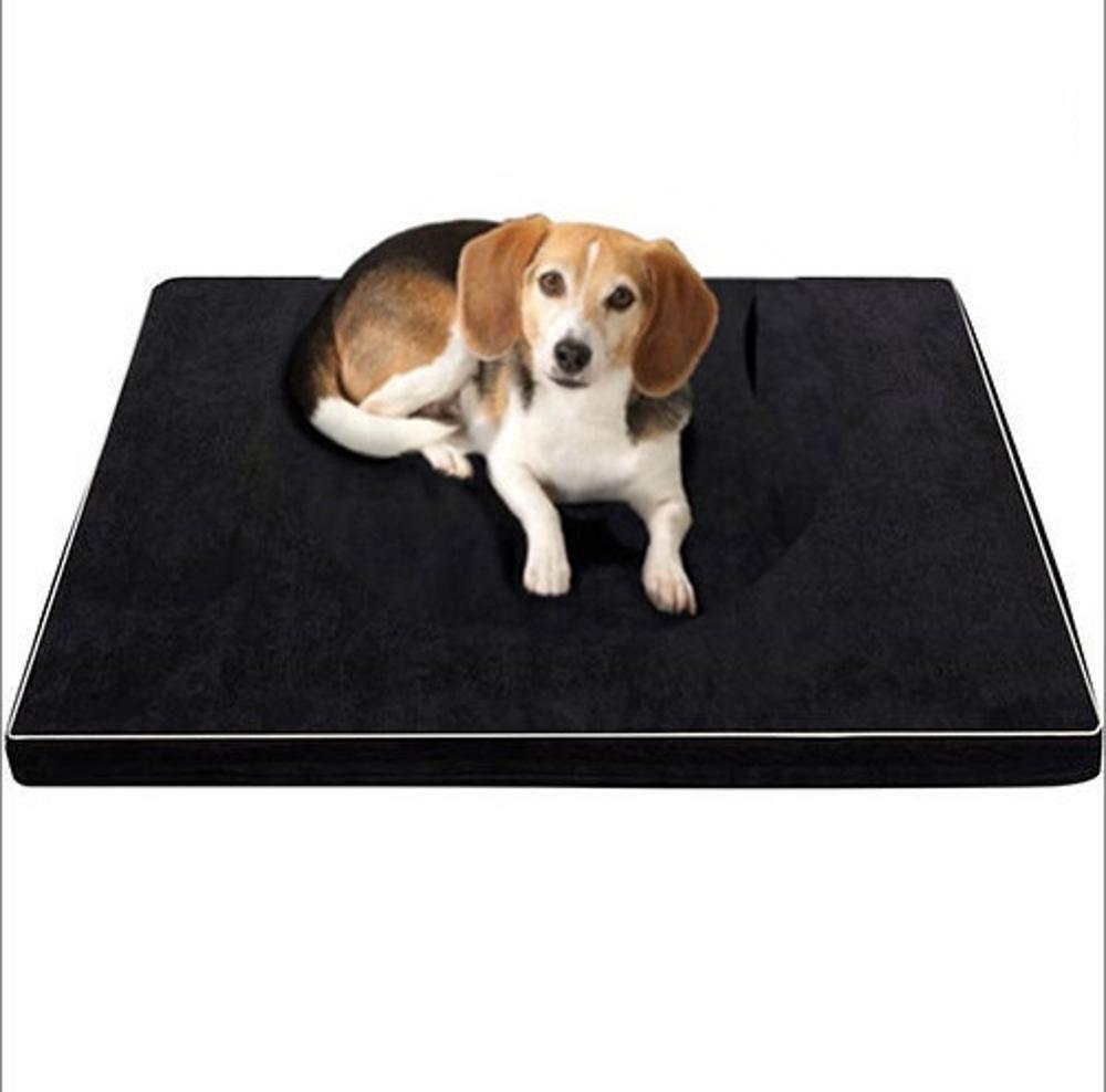 Gperw Pet Bed for Full Washable Memory Sponge Dog mat pet mat Slow Rebound Kennel cat Litter Black Non Slip Cushion Pad