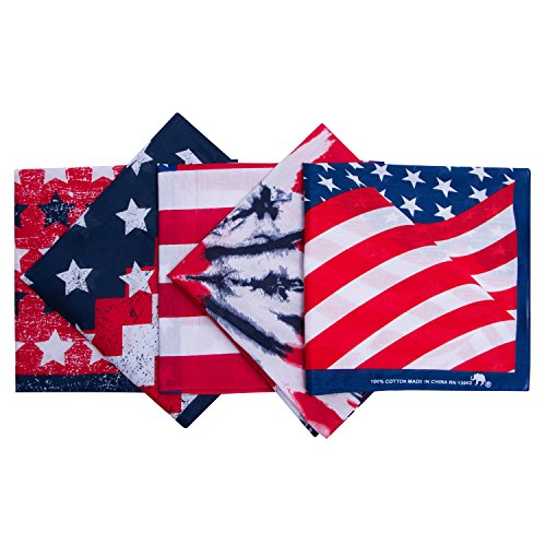 Original Elephant Brand Bandanas 100% Cotton Since 1898-5 Pack (Americana) ()