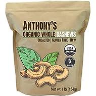 Anthony's Organic Whole Cashews (1lb), Raw, Unsalted & Gluten Free