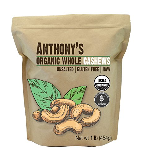 (Anthony's Organic Whole Cashews (1lb), Raw, Unsalted & Gluten Free)