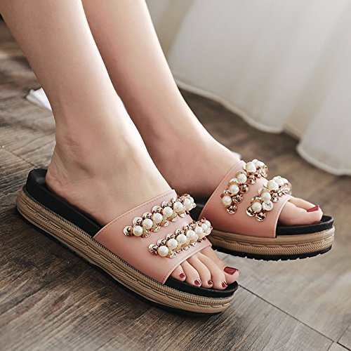 La moda zapatillas damas High Heels perlas gruesas abajo zapatillas Rosa.