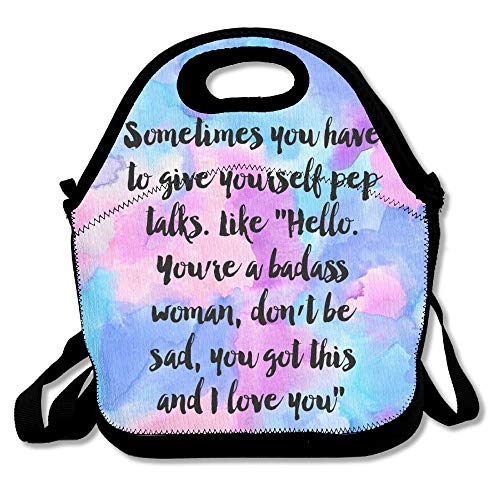 Lunch Box Bag For Kids And Adult, Give Yourself A Pep Talk Positive Quotes lunch Tote Lunch Holder With Adjustable Strap Shoulder For Men Women Boys Girls,This Design For Portable