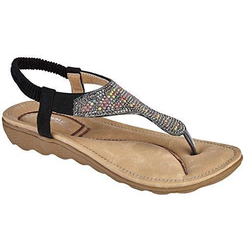 Xti - Sandales Compensées Noires -height Bea 5,5 Cm-