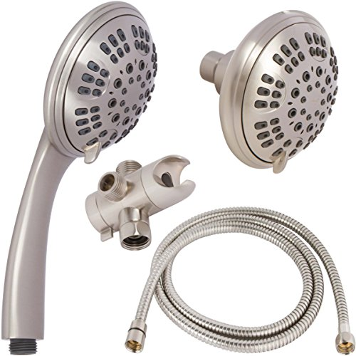 6 Function Dual Shower Head Combo - High Pressure, Adjustable Handheld & Fixed Showerheads With Hose & Diverter And Double Removable Rainfall Spray Heads - Brushed Nickel by Aqua Elegante