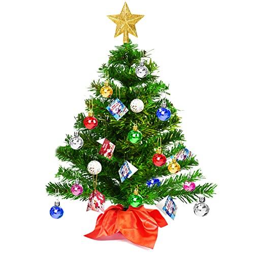 50cm Mini Sapin de Noël Artificiel, Petit Sapin de Noel avec Etoile Dorée Boules Colorées et Carte, Arbre de Noël de Table pour Décorations Noël de Maison Cuisine Bureau