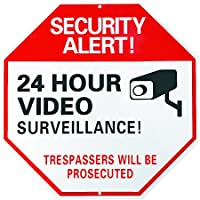 Aluminum Home/Business Security 24 hours Surveillance Fake Video Camera Sign-Warning No Trespassing Great for Yard Gate Fences-12x12 Octagon Thick Reflective UV proof Rust free w/ METAL SCREW SET