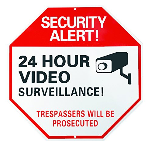 Home Security Sign : 24 Hour Video Surveillance Trespassers Will Be Prosecuted Large 12 X 12 Octagon Reflective UV and Rust Proof Aluminum Sign Also Use As Fake Video Surveillance Sign Comes W/SCREWS