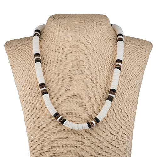 White Puka Shell Necklace with Wood Coco Beads (Brown) (Brown Coco Necklace Bead Shell)