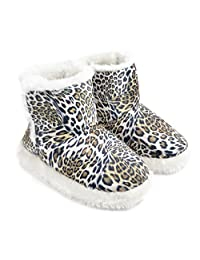 Womens/Ladies Leopard Print Faux Fur Lined Boot Slippers