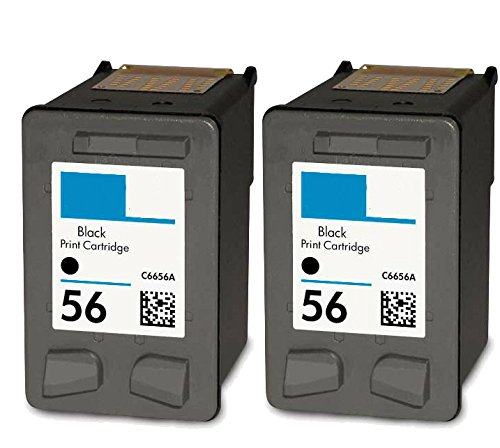 HouseOfToners Remanufactured Ink Cartridge Replacement for HP 56 C6656AN (2 Black, 2-Pack) (C6656an Ink 56 Black)