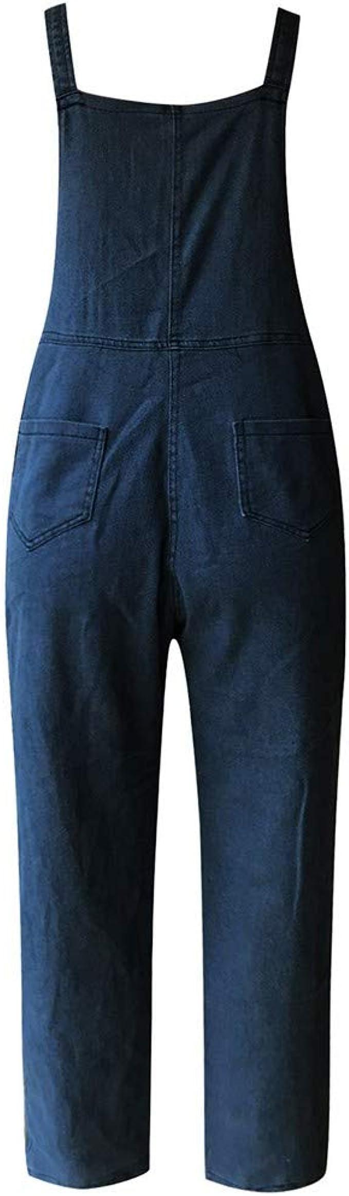 LianMengMVP Mono Vaquero Mujer LMMVP Pantalones Estampado de Flores Casual Pantalones Pants Jumpsuits Femenina Petos Pantalones de Mezclilla Rompers Mameluco Monos con Bolsillo M, Azul Claro