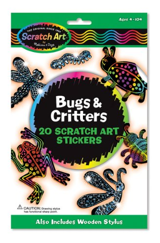 Melissa & Doug Scratch Art Magic Bugs and Critters Sticker Kit (20 Stickers) - Kid Art Bugs