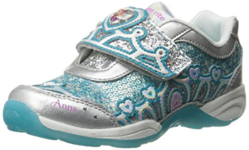 Stride Rite Disney Frozen Light-Up Sneaker (Toddler/Little Kid),Silver/Turquoise,12.5 M US Little Kid