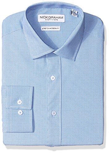 (Nick Graham Everywhere Men's Modern Fitted Micro pin dot Print Stretch Dress Shirt, Light Blue, XL-XL36/37)