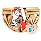 Bamboo Handbag Handmade Tote Bag Handle Bamboo Purse Straw Summer Beach Bag for Women (NBH-A01)