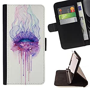 - Wolf Space - - Style PU Leather Case Wallet Flip Stand Flap Closure Cover FOR Apple Iphone 5 / 5S - Devil Case -