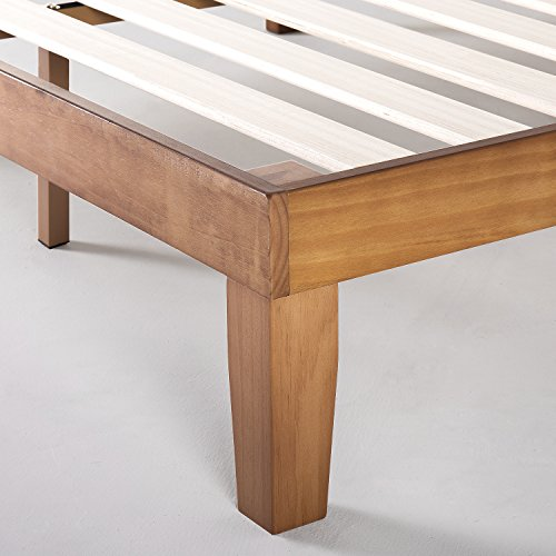 Mellow 12 Classic Soild Wood Platform Bed Frame w/Wooden Slats (No Box Spring Needed) Queen Natural