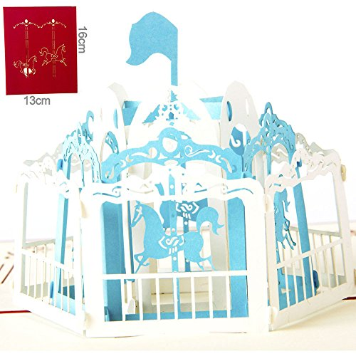 3D Pop Up Cards Carousel Lover Happy Birthday Anniversary Greeting Cards A