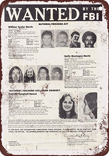 Metal Sign - 1974 Patty Hearst Wanted Poster - Vintage Look Reproduction