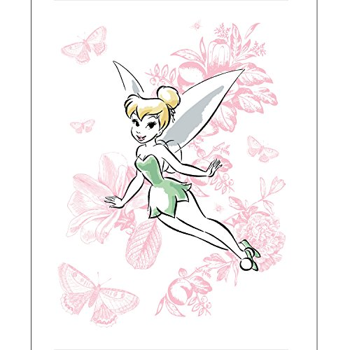Disney Panel Tinkerbell Floral in White Fabric by the Yard (Tinkerbell Fabric)