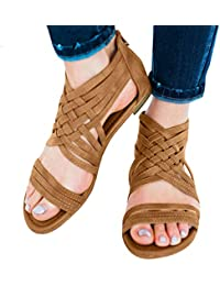 ae5a0ba36a99 Vintage Women Open Toe Breathable Beach Zipper Sandals Rome Casual Flat  Shoes