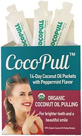 CocoPull Organic Coconut Oil Pulling Natural Teeth Whitening - 14 Unrefined Coconut Oil Pulling Packets With Organic Peppermint Oil - For Healthier Teeth and Gums- Bad Breath Remedy
