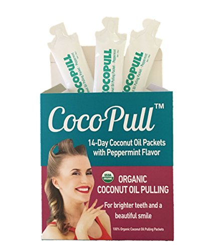(CocoPull Organic Coconut Oil Pulling Natural Teeth Whitening - 14 Unrefined Coconut Oil Pulling Packets With Organic Peppermint Oil - Natural Oral Care And Bad Breath Remedy)