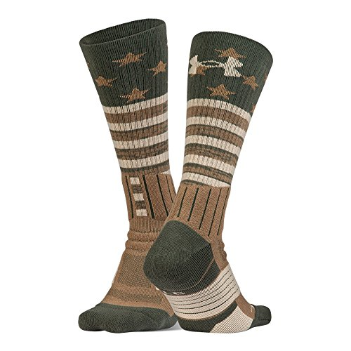 Under Armour Unrivaled Stars & Stripes Crew Single PR Socks (Pack), Combat Green/Coyote Brown, - Socks Reds White Cincinnati