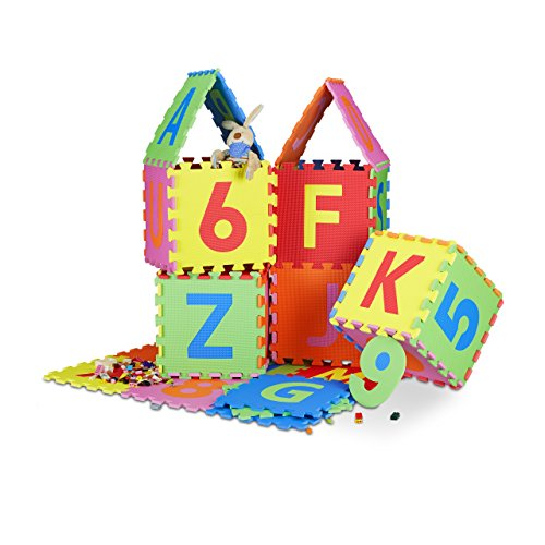 Relaxdays Tapis de jeu puzzle 86 pièces pour enfants lettres chiffres matelas mousse EVA lxP 180 x 180 cm, coloré