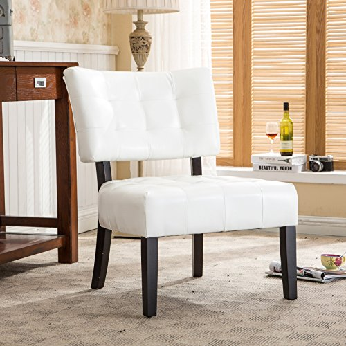 (Roundhill Furniture Blended Leather Tufted Accent Chair with Oversized Seating, Ivory)