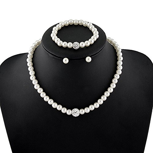 Jewelry Set, Thaibestus Faux Pearls Bridal Bridesmaid Necklace Earrings (Jewelry Bridesmaid Necklace)