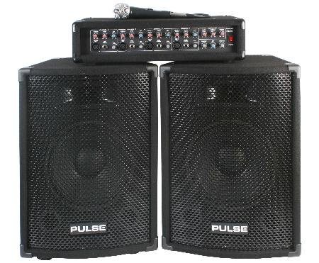Complete 150W PA System - 4CH Mixer and Two 10inch Speakers With Headphones by Pulse