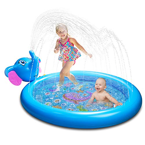 Foayex 65x50.4x6.7 Inflatable Sprinkler Toddlers Pool Water Toys for Kids, Baby Pool for Outside, 3 in 1 Splash Pad Wading Pool, from A to Z Outdoor Swimming Pool