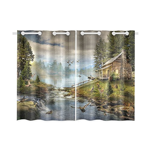 your-fantasia House in the Forest by the Creek Window Curtain Kitchen Curtain Two Pieces 26 x 39 (Creek House 2 Piece)