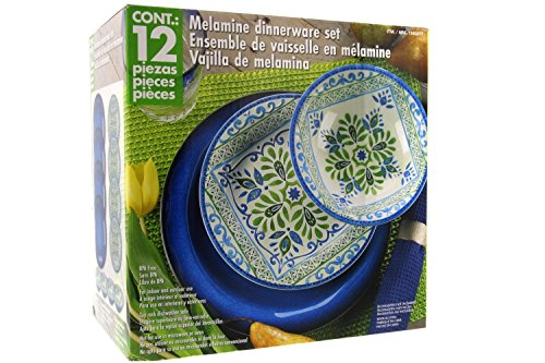 Melamine 12 Piece Dinnerware Set (Blue & Green) - Suitable Indoors and Outdoors